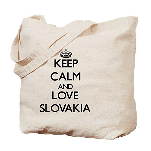 CafePress diseño de Keep Calm And Love Eslovaquia–Gamuza de bolsa de lona bolsa, bolsa de la compra Medium caqui