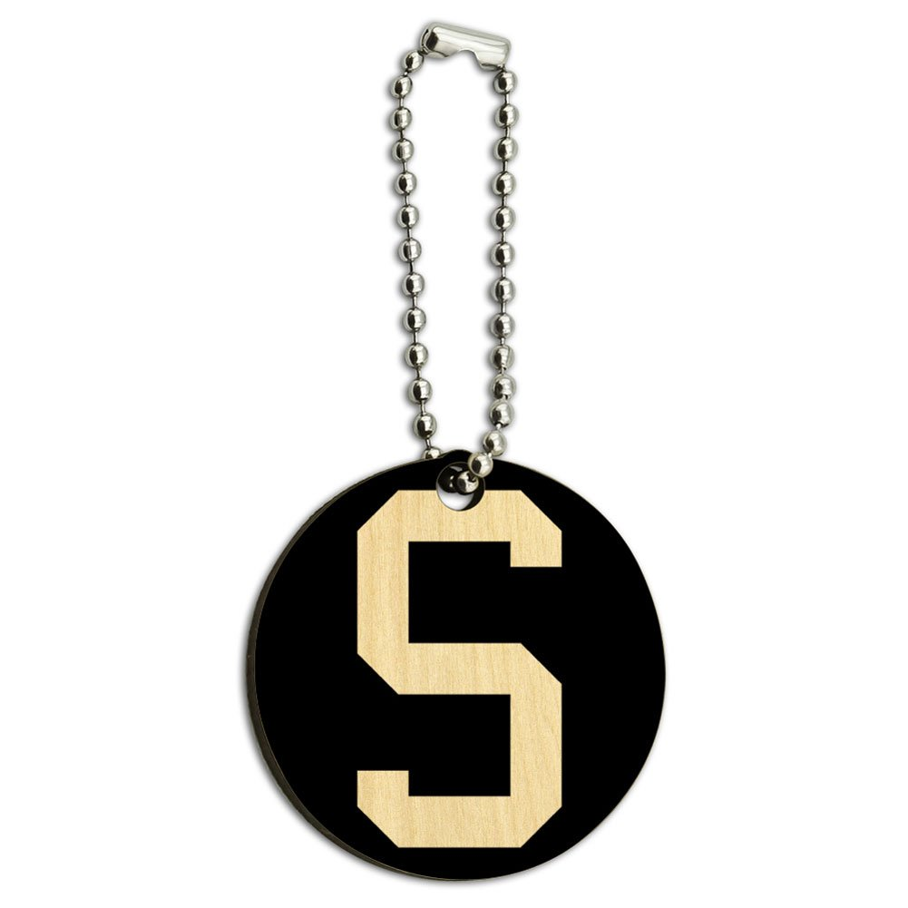 Letter S Initial Black White Wood Wooden Round Key Chain