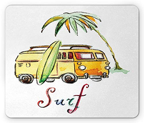 Surfboard Mouse Pad, Hand Drawn Surfing Car Summertime Seaside Traveling Vehicle Palm Tree Vacation, Standard Size Rectangle Non-Slip Rubber Mousepad, Multicolor