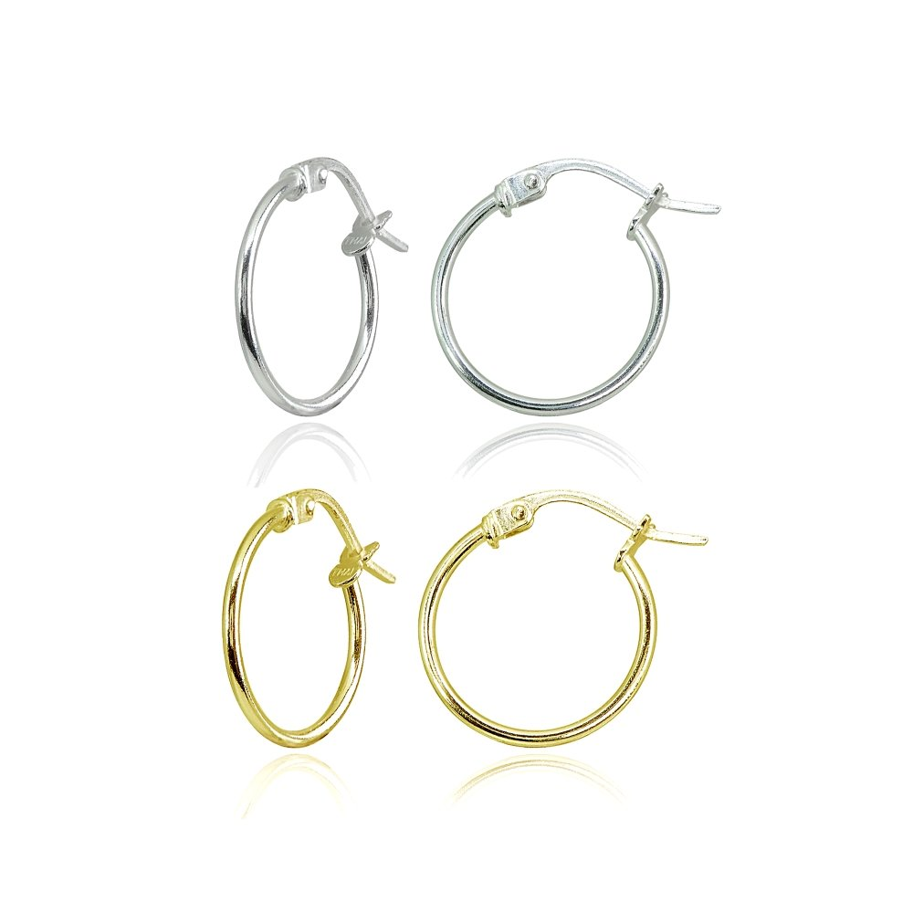 2 Pair Set Sterling Silver and Yellow Gold Flashed Tiny Small 15mm High Polished Round Thin Lightweight Unisex Click-Top Hoop Earrings