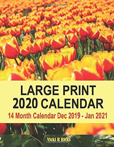 Large Box Blank December 2020 Calendar Large Print 2020 Calendar: 14 Month Large Print Calendar for 2020