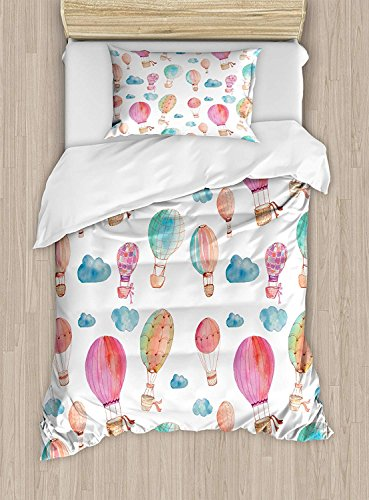 Hand Bed Set Painted (Girls Boys Child Queen Bedding Sets, Watercolor Duvet Cover Set, Hand Painted Style Cute Floating Hot Air Balloons with Blue Clouds Print, Include 1 Flat Sheet 1 Duvet Cover and 2 Pillow Cases)