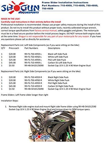 Shogun 2016-2019 Kawasaki ZX10 ZX10R ZX10RR Black No Cut Frame Sliders -  750-4959 - ZX 10 ZX10 ZX10RR - MADE IN THE USA