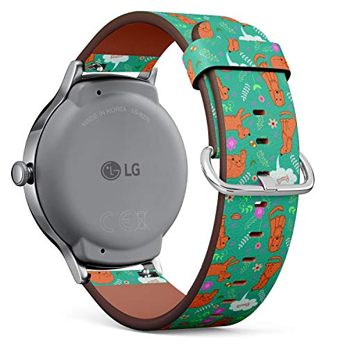 - Compatible with LG Watch Style - Leather Watch Wrist Band Strap Bracelet with Quick-Release Pins (Fanny Merry Spaniel)
