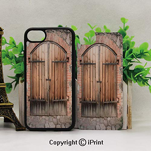 Full Body Protector Shockproof Cover,Protective Hybrid Rubber Bumper,Wooden Door of a Stone House with Wrought Iron Elements Tuscany Architecture PhotoBrown Grey
