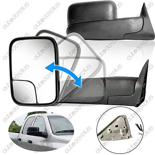 02 Power Side Mirror (Towing Mirrors for 02-08 Dodge Ram 1500 03-09 Dodge Ram 2500 3500 Pickup Truck Power Heated Tow Folding Side View Black Mirror Pair Set: Right Passenger and Left Driver Side)