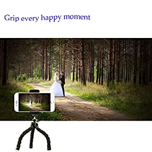 Phone Tripod, Sellemer Flexible and Adjustable Tripod Bluetooth Camera Remote for iPhone X 8 7 Plus 6S 6 5s 5 SE, Galaxy S8 S7 S6 Edge and Gopro Hero/ Akaso EK7000 Action Camera (tripod)