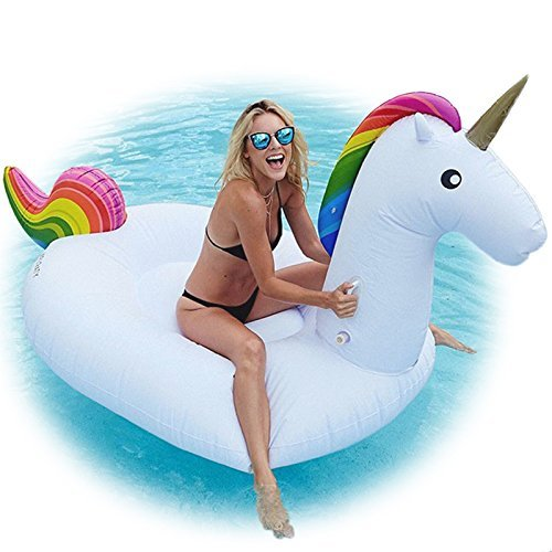 Slaiya Giant Unicorn Swimming Pool Float 8' Inflatable Raft for Kids and Adults Holds Up to 400lbs Inflates and Deflates Fast Premium Quality Toy, iver Tube, Oceans And Lakes (Rainbow)