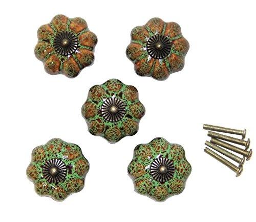 Vintage Green Handle (Ceramic Pumpkin Drawer Knobs, 5PCS 40mm Cabinet Handles Pulls Knobs (green))