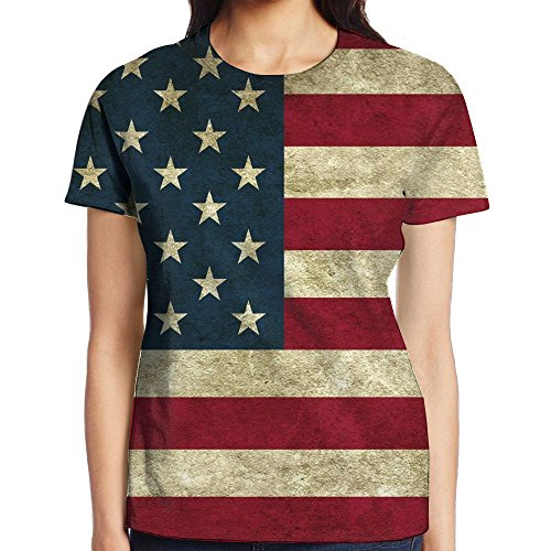 Vcddjns4 USA Flag Vintage Retro Girls O-Neck Short Tee Shirt Sleeve Baseball Jersey Top (Stripe Chappy)