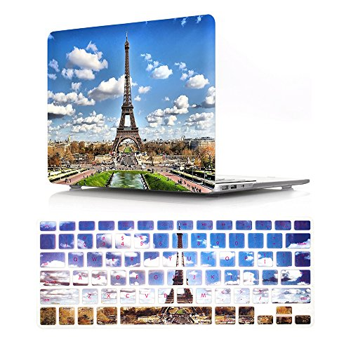 HRH 2 in 1 Paris Eiffel Tower Laptop Body Shell Protective Hard Case Cover and Matching Silicone Keyboard Cover for Apple MacBook Old Pro 15.4(with CD-ROM Drive Model A1286