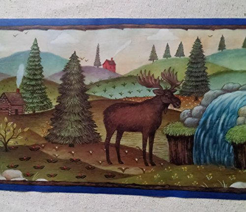 Lodge Moose Bears Camping Cabin Wallpaper Border - Blue - 31326320