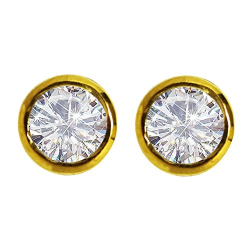 Yellow rhodium Cubic Zirconia 925 sterling silver stud earring