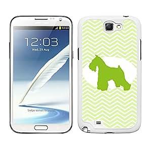 Funda carcasa para Samsung Galaxy Note 2 diseño perro mini shcnauzer silueta estampado zigzag zig-zag borde blanco