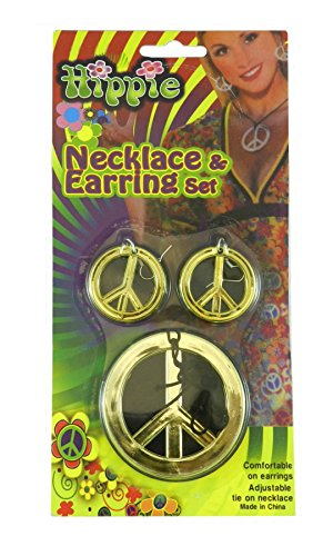 Hippie Peace Sign Necklace and Earrings One-Size in Gold (Peace Costumes)