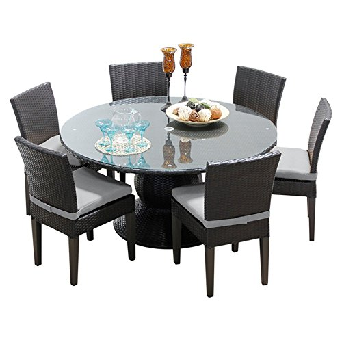 TK Classics Napa 60″ Outdoor Patio Dining Table with 6 Armless Chairs, Grey Review