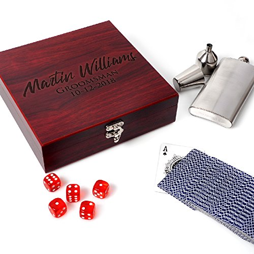 Dice Set Gift Box (Be Burgundy - Personalized Rosewood Finish Flask Gift Set, Groomsmen Gift Set| Rosewood Gift Box - Gifts for Groomsmen Flasks, Wedding Favor | Flask for Liquor, Personalized Groomsman Flasks)