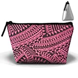 UEYYP Pink Retro Africa Women's Cute Zippered Makeup Bag Large Trapezoidal Cosmetic Travel Bag Portable Pouch Multifunction Toiletries Organizer Bag