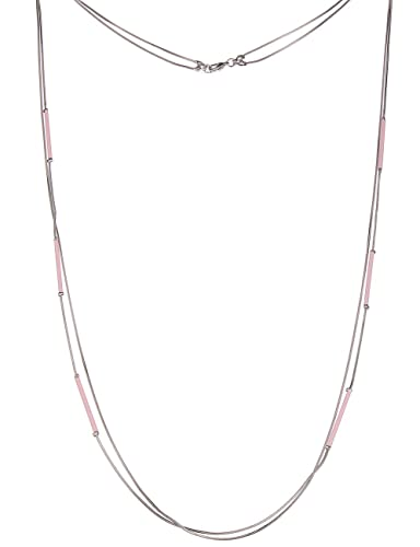 lange Kette Damenkette modern Silberne Halskette mit Anhänger und Strass