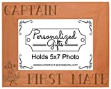 Cheap ThisWear Nautical Gift Sail Captain First Mate Anchor Natural Wood Engraved 5×7 Landscape Picture Frame Wood