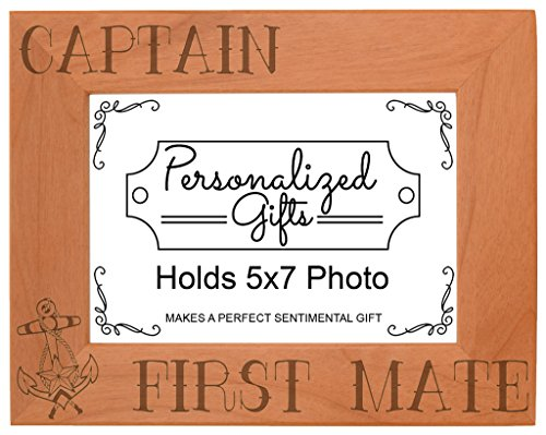 ThisWear Nautical Gift Sail Captain First Mate Anchor Natural Wood Engraved 5x7 Landscape Picture Frame Wood