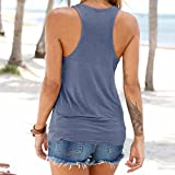 Women Vest Tops,Napoo V-Neck Sleeveless Modal Shirt Tank Tops Blouse T-shirt with Bandage (XL, Blue)
