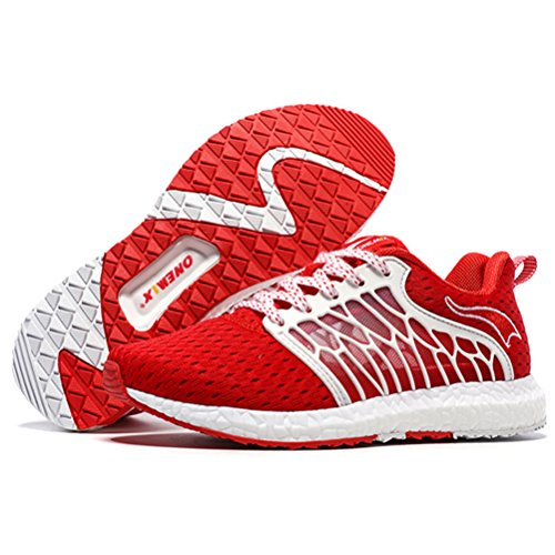 YiDiar Breathable Männer Athletic Trail Laufschuhe Outdoor Walking Jogging Training Sport Turnschuhe Rot-Weiss