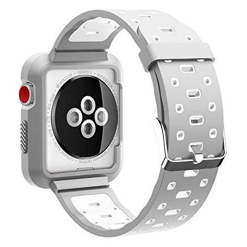 EloBeth for Apple Watch Band, Soft Silicone Sport Style Replacement Wrist Strap Stripe Color Splicing for Apple Watch Bands Series 3/Series 2/Series 1(Grey/White 42mm) Photo #6