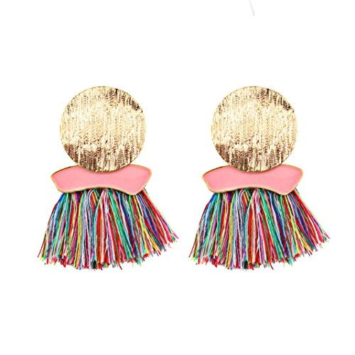 ethez 11.5cm Bohemian Round Tassel Fringe Dangle Earring Ethnic Round Ear Stud Drop Earrings (Multicolor) ()