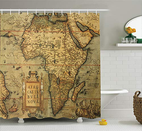 Ambesonne Wanderlust Decor Collection, 16th Century Map of Africa Engraved and Colored by Cartographer Abraham Ortelius Image, Polyester Fabric Bathroom Shower Curtain Set with Hooks, Olive