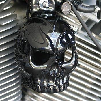 Yellow Evil Twin Skull Horn Cover in aged aluminum w//back lit LED eyes.