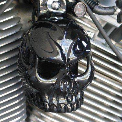 (Harley Gloss Black Powder Coated Evil Twin Skull Horn Cover)