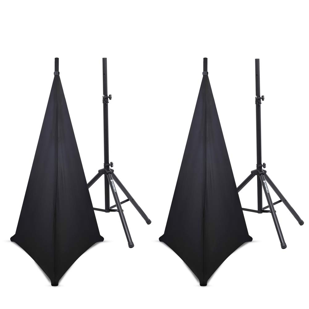 PRORECK Telescoping Adjustable Tripod Dj/PA Speaker System Stand, 6 Feet (Speakers with Black covers)