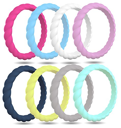 Gray Womens Ring - FluxActive Silicone Wedding Ring for Women by (8 Pack) Thin Stackable Rubber Bands - Woven Pattern (Lavender, Teal, Midnight Blue, White, Fuchsia, Gray, Lime Green, Light Blue, 9)