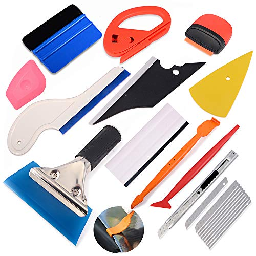 Ehdis 8 in 1 Car Window Film Tool Kit with Replaceable Handled Rubber Squeegee, Felt Edge Squeegee, Scraper 1