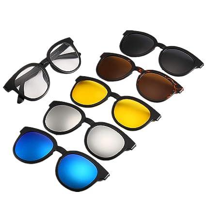 69145b0f42 Gafas de sol polarizadas unisex Gafas de sol redondas del estilo retro con  las lentes intercambiables 5Pcs para las mujeres de los hombres ...