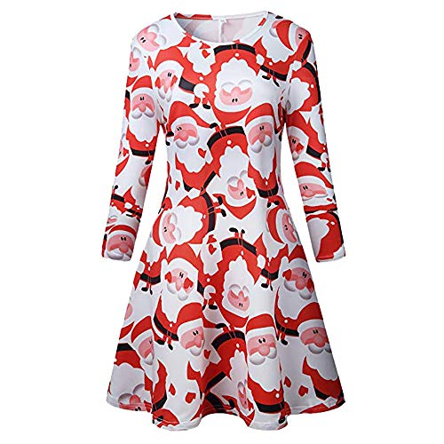 A Line Dresses for Women Plus Size Long Sleeve,Vintage Christmas Santa Printed Costume Dress (XL, Red)