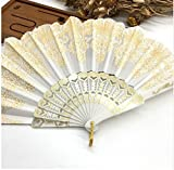 White Plastic Hand Fan Sequins Rose Flower Embroidered Dancing Party Fan Wedding Favors Decoracion Fiestas