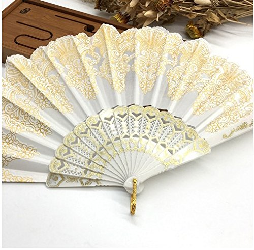 White Plastic Hand Fan Sequins Rose Flower Embroidered Dancing Party Fan Wedding Favors Decoracion Fiestas by Hand Fan (Image #1)
