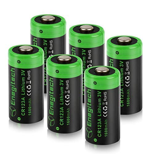 ttery, Enegitech 6Pack CR123A Batteries 1600mAh Non-Rechargeable with PTC Protection for Photo Camera Torch Microphones Flashlight ()