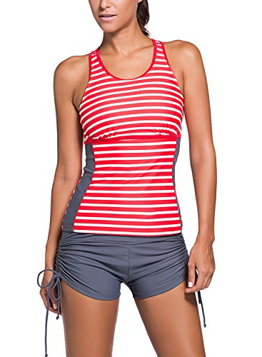 Arainlo Swimsuit Women Two Piece Tankini and Swim Shorts Red Stiped - Swim Shorts Striped