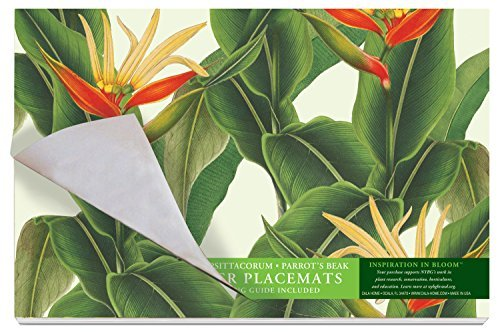 Cala Home 24-Pack Disposable Paper Placemats, New York Botanical Garden Heliconia