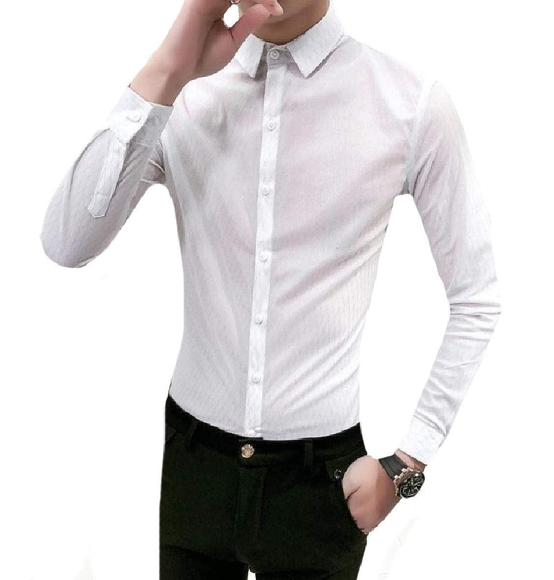 Vska Mens Fashion Plaid Long-Sleeve Slim Cut Club Cocktail Shirts