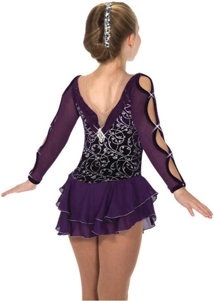 女性女の子フィギュアスケートスーツアイススケートスカートコンペティショングレーディングスカートパープルホットシルバーシャイニー,Rosered,XXXS