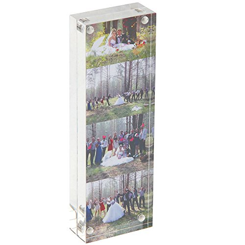 Photo Booth Acrylic 2 x 6 Picture Frame, Double Side Frameless Desktop Photo Frames(2x6 inch, 24mm Thickness) (Photo Booth Card Frame)