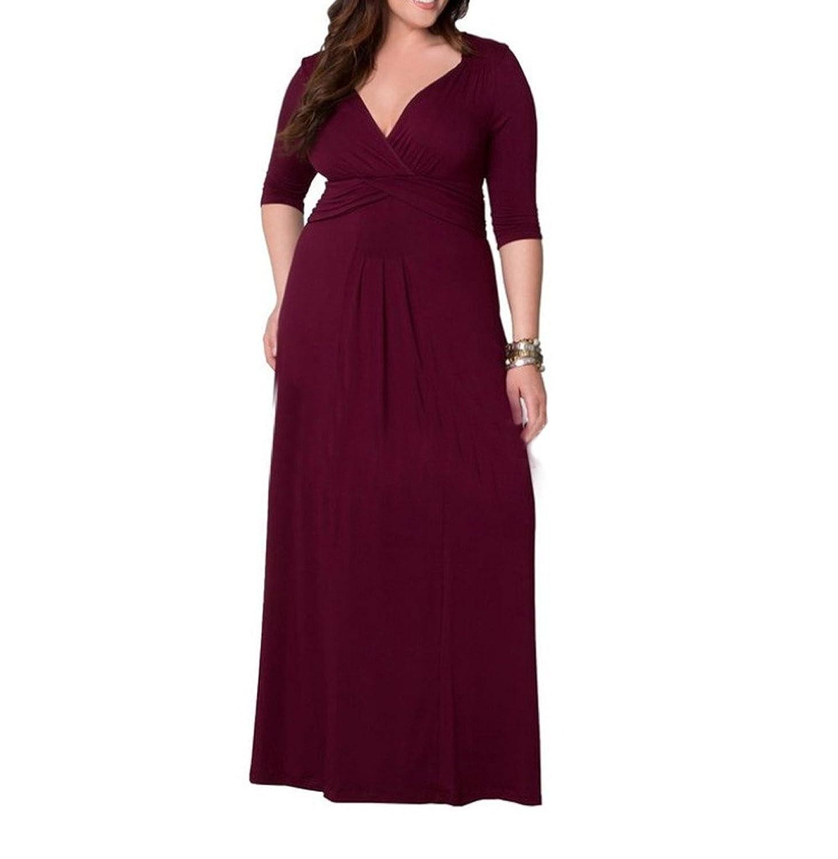 Dantiya Women's Long Sleeve Sexy V Neck Plus Size Party Evening Dress