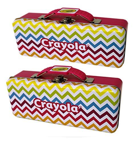 The Tin Box Company 2 Pk Crayola Pencil Box Handle (2 Pack), Yellow, Maroon -