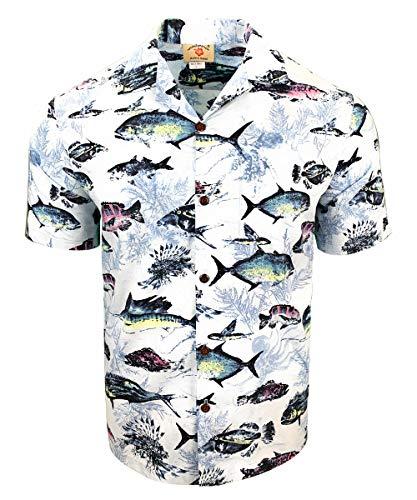 Tropical Luau Beach Cotton Print Men's Hawaiian Aloha Shirt (Small, Mahi Fish Light Blue) (Design Shirt Fish)