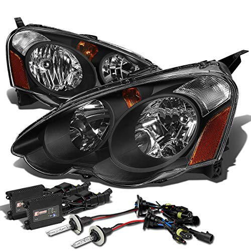 For Acura RSX DC5 Headlight+6,000K H1 HIDs+Slim Ballasts (Black Housing Amber ()