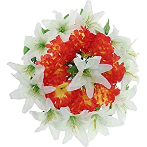 Fityle Artificial Silk Lily Flower Wreath Arrangement Cemetery Flower Wreath 50cm 4